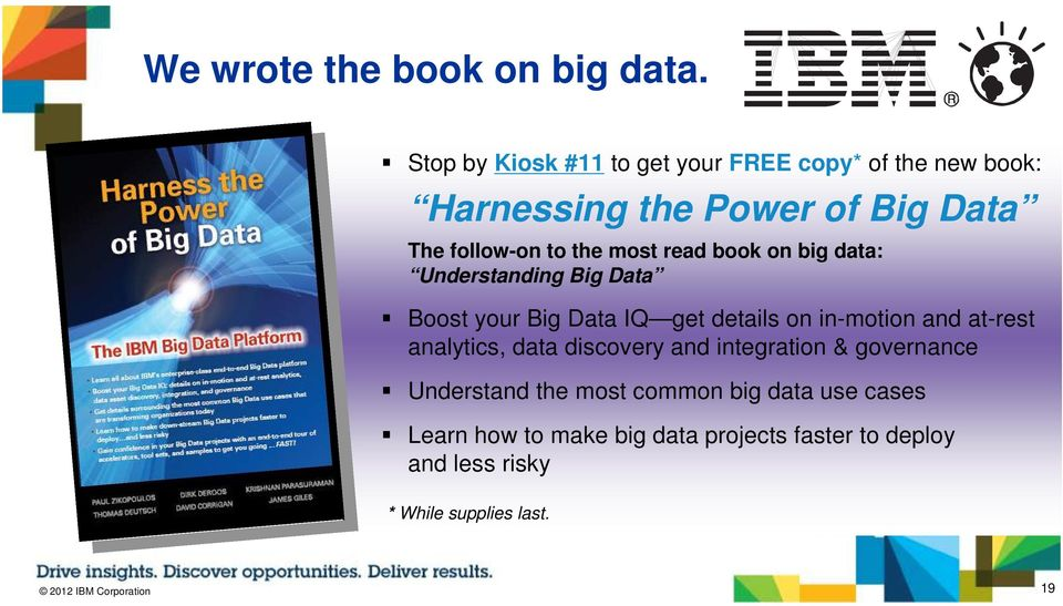 read book on big data: Understanding Big Data Boost your Big Data IQ get details on in-motion and at-rest analytics,