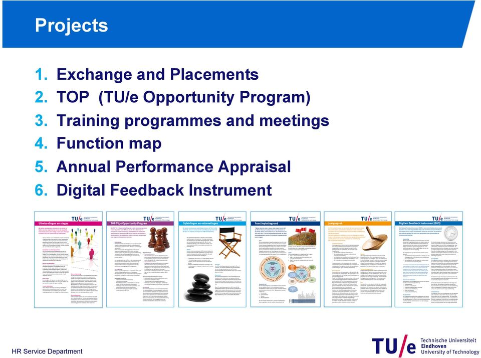 Training programmes and meetings 4.