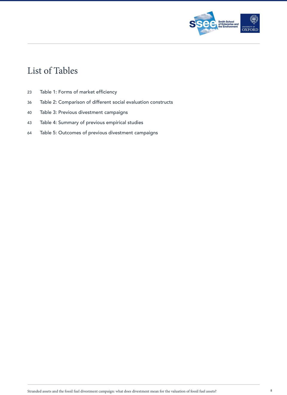 empirical studies 64 Table 5: Outcomes of previous divestment campaigns Stranded assets and the