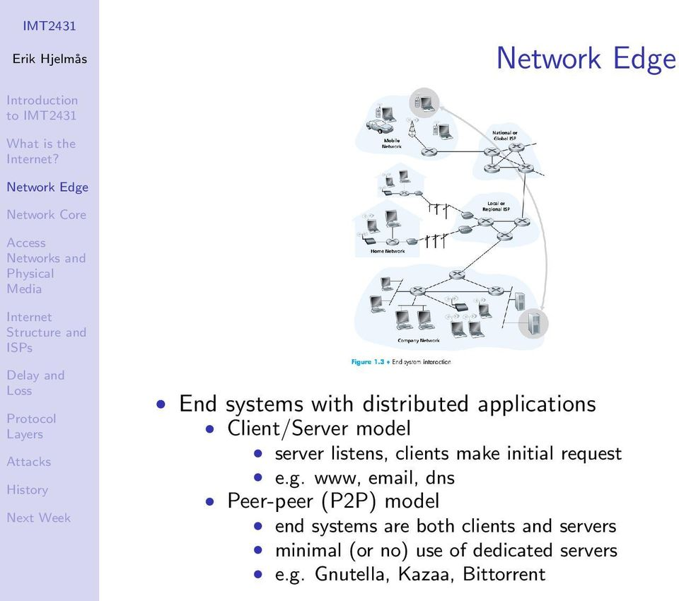 www, email, dns Peer-peer (P2P) model end systems are both clients