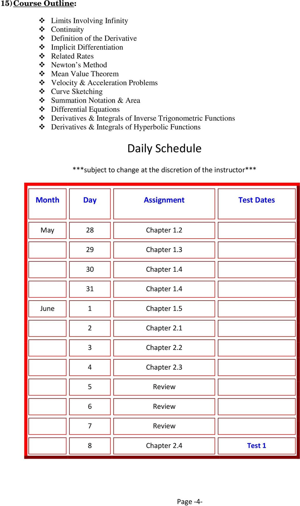 Derivatives & Integrals of Hyperbolic Functions Daily Schedule ***subject to change at the discretion of the instructor*** Month Day Assignment Test Dates May 28