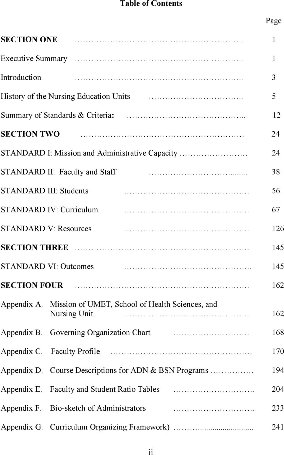 126 SECTION THREE. 145 STANDARD VI: Outcomes.. 145 SECTION FOUR. 162 Appendix A. Mission of UMET, School of Health Sciences, and Nursing Unit. 162 Appendix B. Governing Organization Chart.