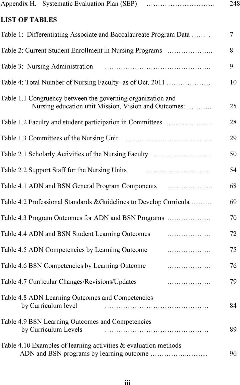1 Congruency between the governing organization and Nursing education unit Mission, Vision and Outcomes:.. 25 Table 1.2 Faculty and student participation in Committees 28 Table 1.