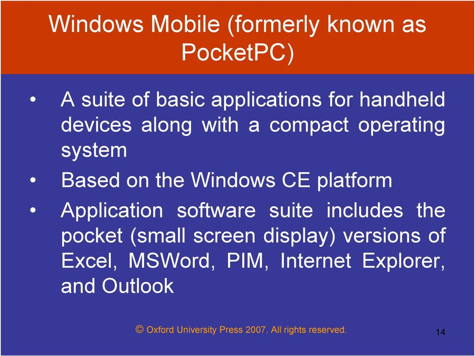 Application software suite includes the pocket (small screen display) versions of