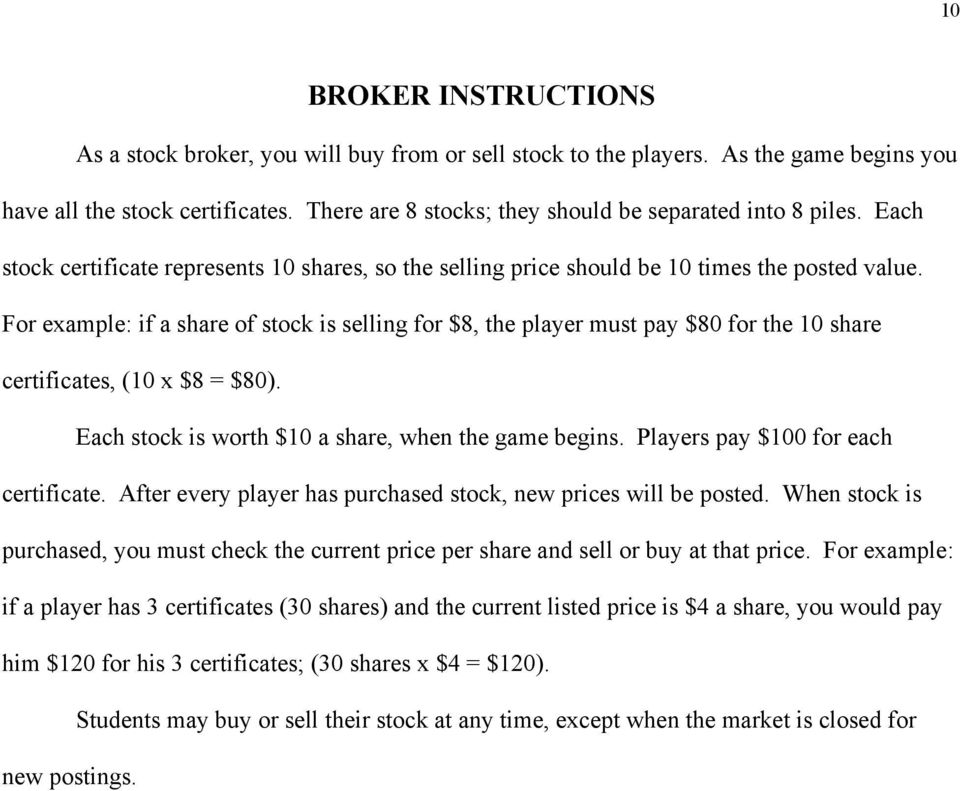 THE STOCK MARKET GAME Teacher Instructions PDF – Example of Share Certificate