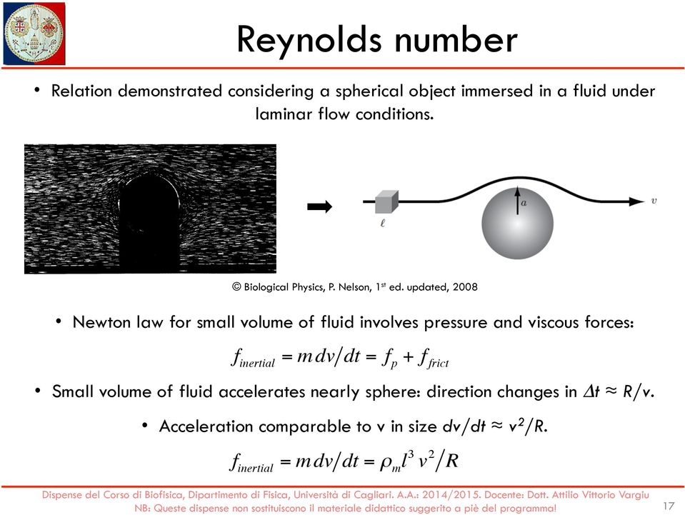 updated, 2008 Newton law for small volume of fluid involves pressure and viscous forces: f inertial = mdv dt = f