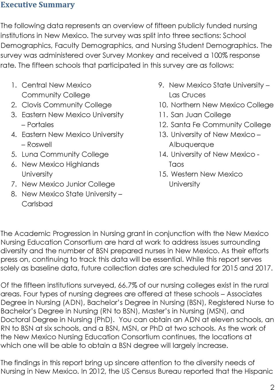 The fifteen schools that participated in this survey are as follows: 1. Central New Mexico Community College 2. Clovis Community College 3. Eastern New Mexico University Portales 4.