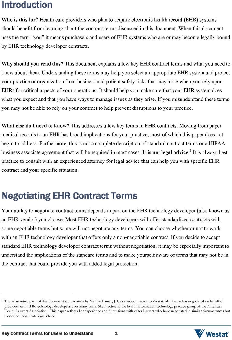 This document explains a few key EHR contract terms and what you need to know about them.