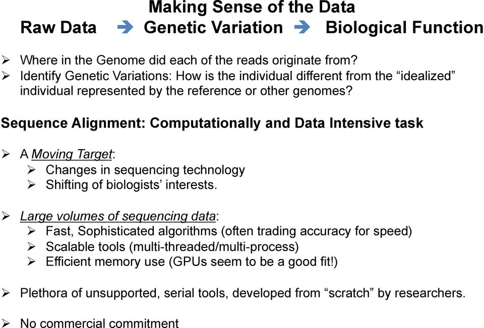 Sequence Alignment: Computationally and Data Intensive task A Moving Target: Changes in sequencing technology Shifting of biologists interests.