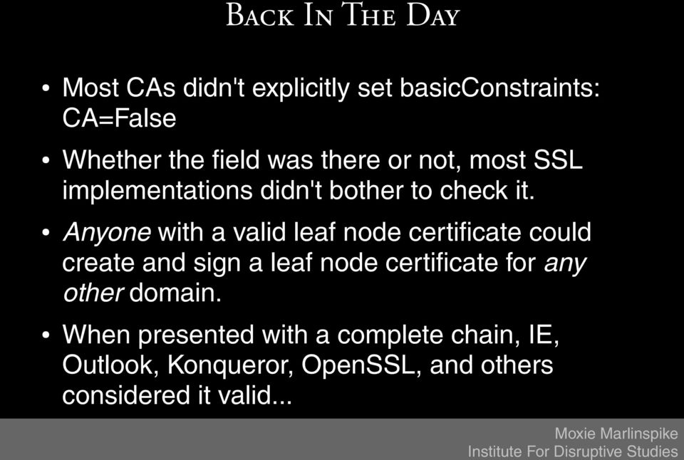 Anyone with a valid leaf node certificate could create and sign a leaf node certificate for