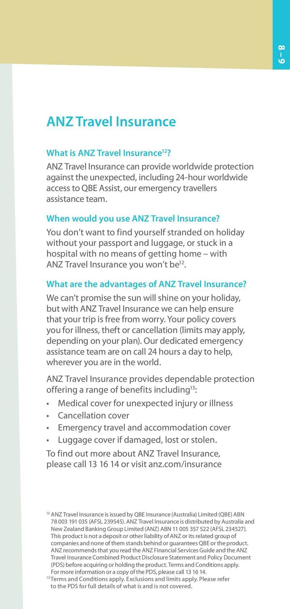 When would you use ANZ Travel Insurance?