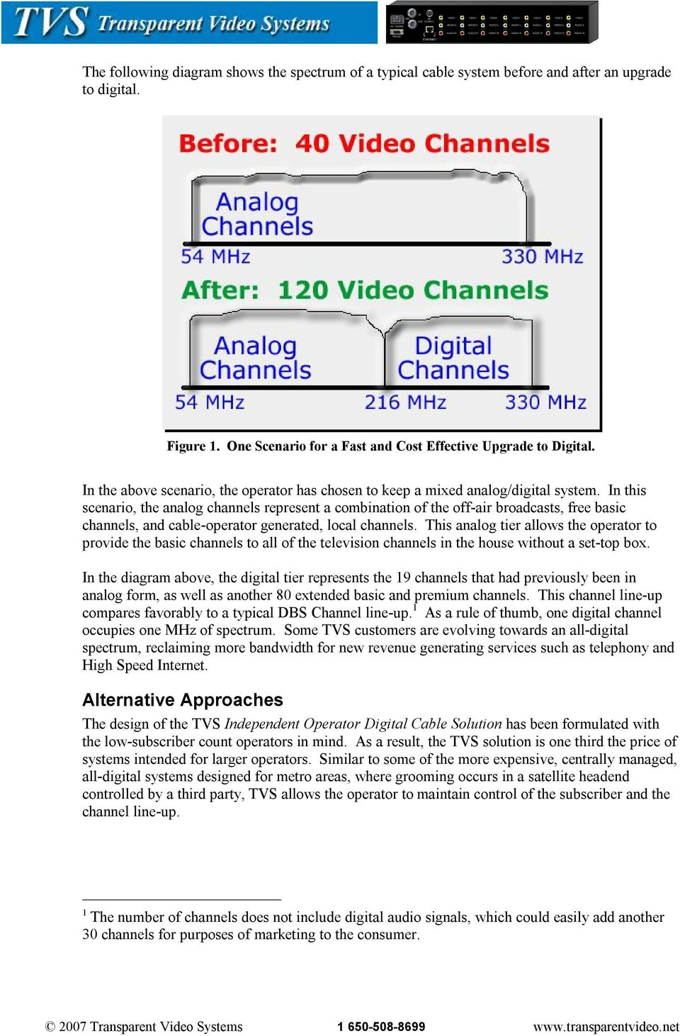 In this scenario, the analog channels represent a combination of the off air broadcasts, free basic channels, and cable operator generated, local channels.
