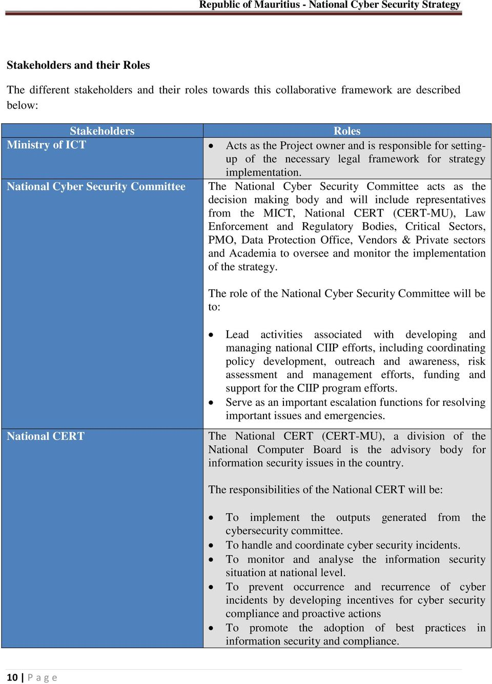 National Cyber Security Committee The National Cyber Security Committee acts as the decision making body and will include representatives from the, National CERT (), Law Enforcement and Regulatory