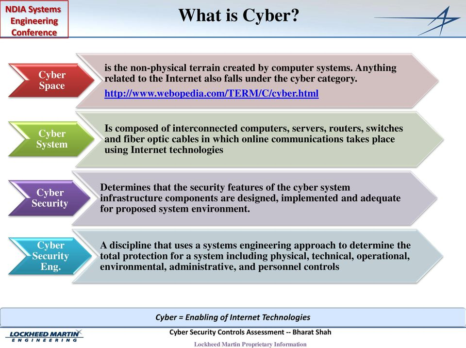 that the security features of the cyber system infrastructure components are designed, implemented and adequate for proposed system environment. Cyber Eng.