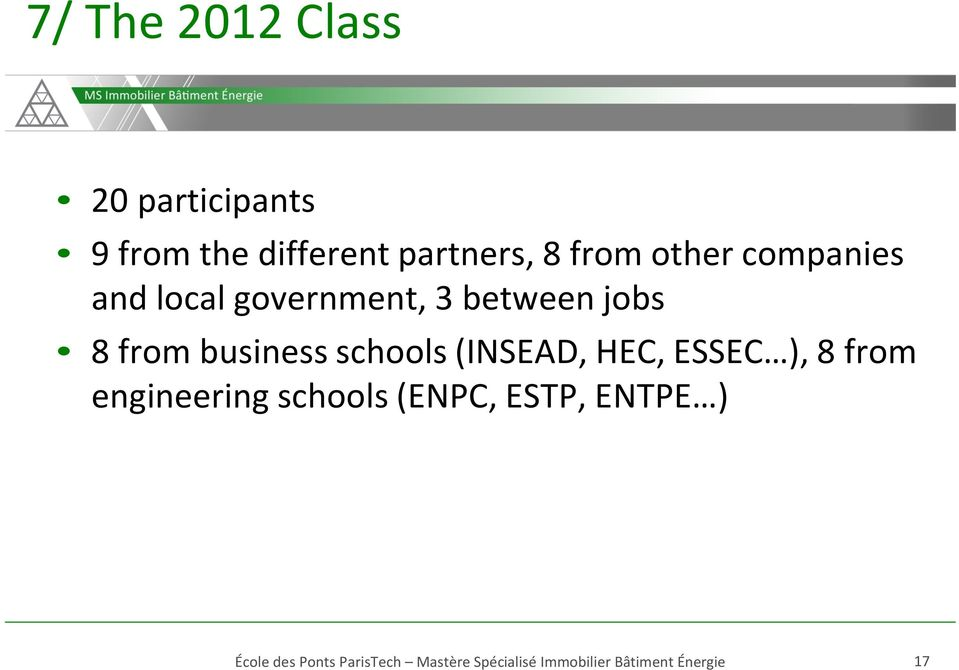 3 between jobs 8 from business schools (INSEAD, HEC,