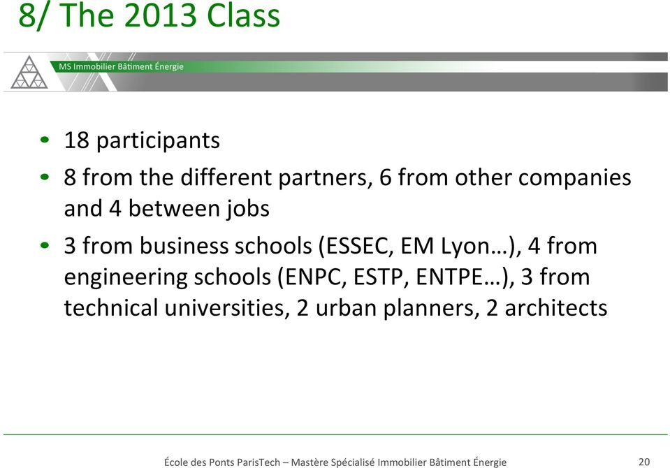 (ESSEC, EM Lyon ), 4 from engineering schools (ENPC, ESTP, ENTPE