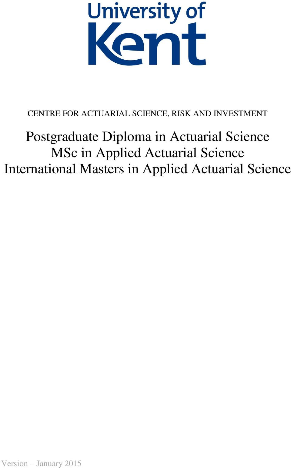 Science MSc in Applied Actuarial Science