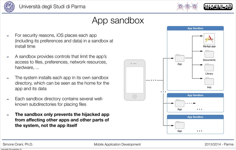 .. The system installs each app in its own sandbox directory, which can be seen as the home for the app and its data Each sandbox directory