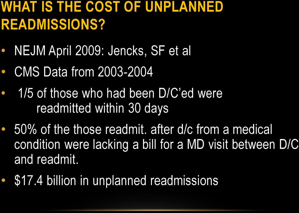 been D/C ed were readmitted within 30 days 50% of the those readmit.