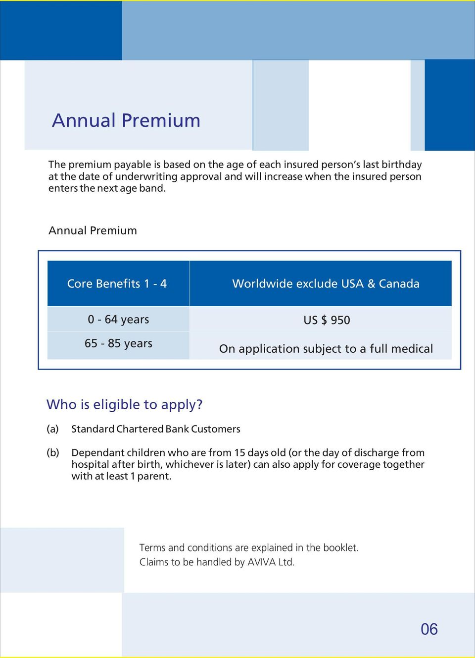 Annual Premium Core Benefits 1-4 Worldwide exclude USA & Canada 0-64 years US $ 950 65-85 years On application subject to a full medical Who is eligible to apply?