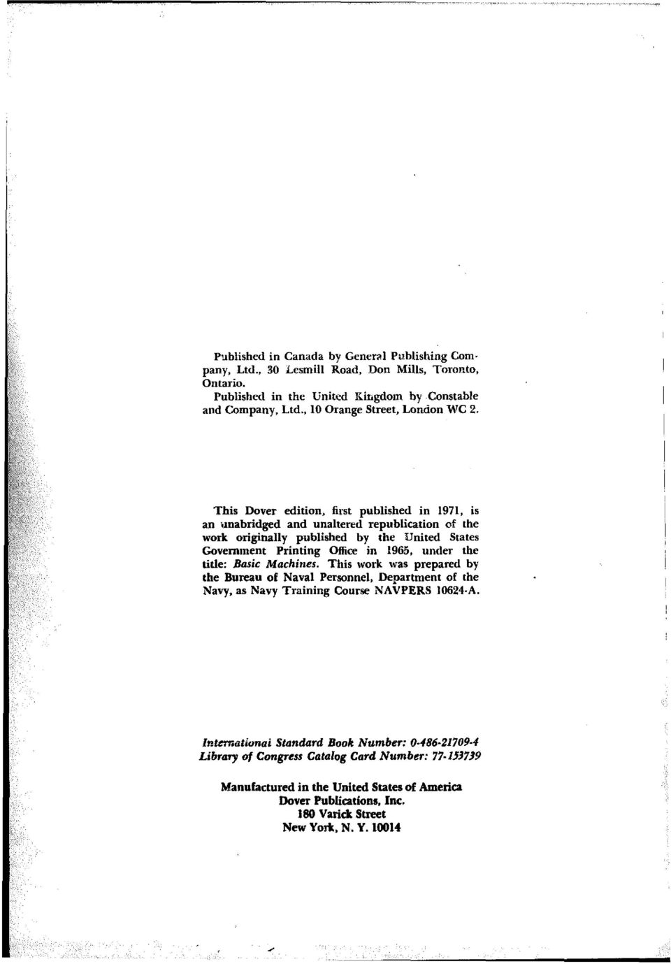 This Dover edition, lint published in 1971, is an ilnabridged and unaltered republication of the work originally published by the United States Government Printing Office in 1965,