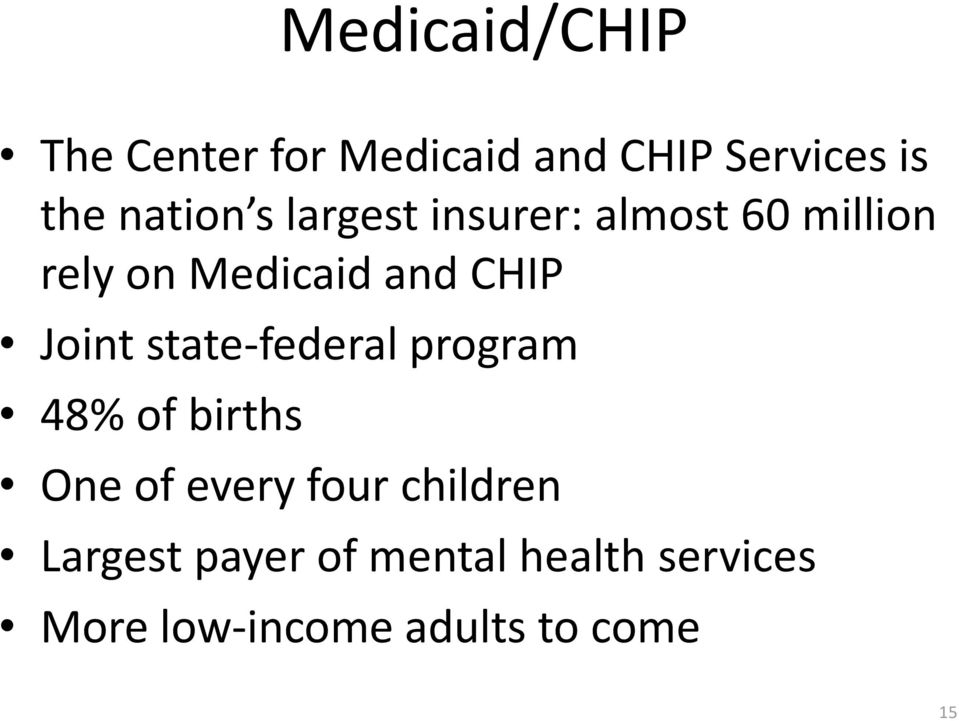 CHIP Joint state-federal program 48% of births One of every four