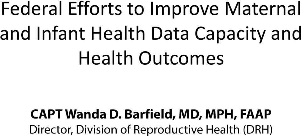 Infant Health Data