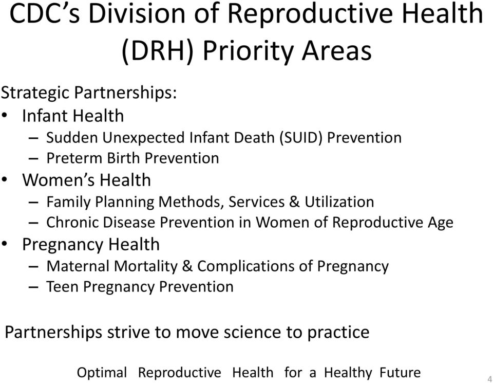 Chronic Disease Prevention in Women of Reproductive Age Pregnancy Health Maternal Mortality & Complications of