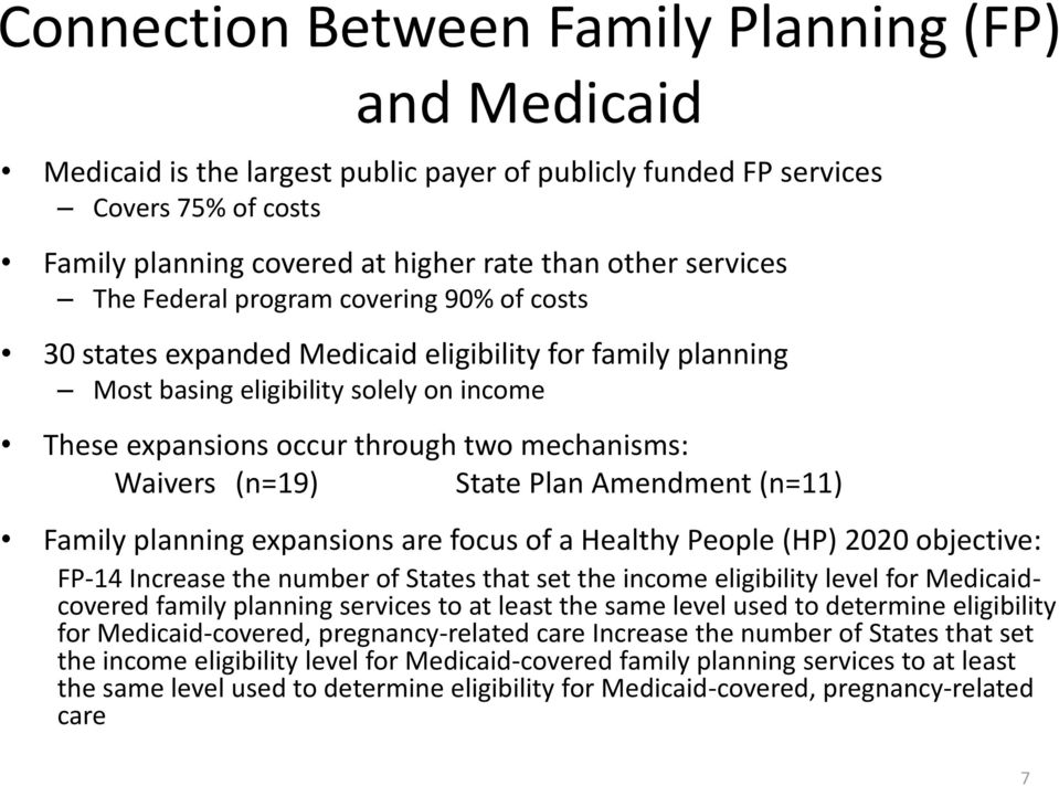 (n=19) State Plan Amendment (n=11) Family planning expansions are focus of a Healthy People (HP) 2020 objective: FP-14 Increase the number of States that set the income eligibility level for