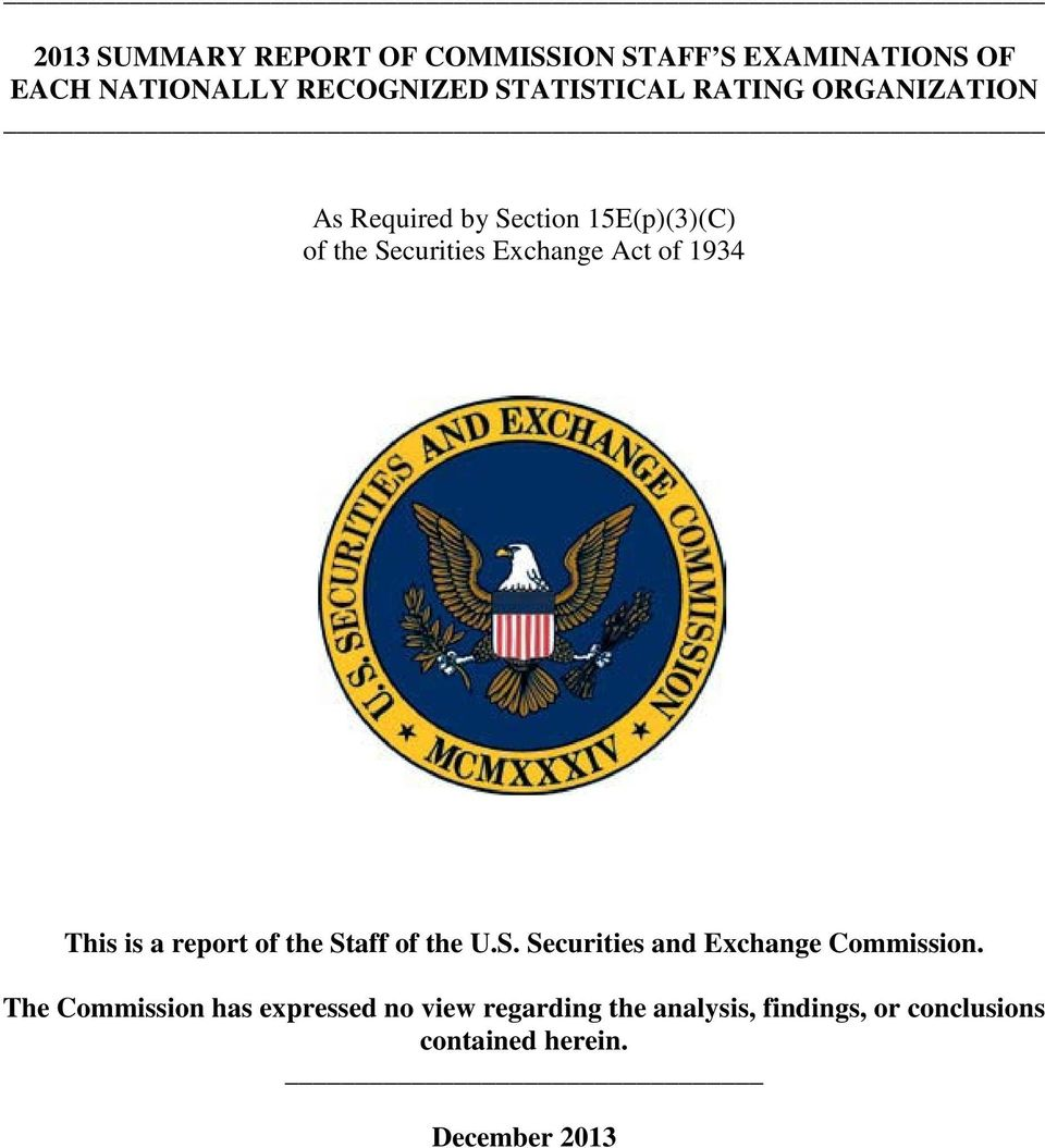 This is a report of the Staff of the U.S. Securities and Exchange Commission.