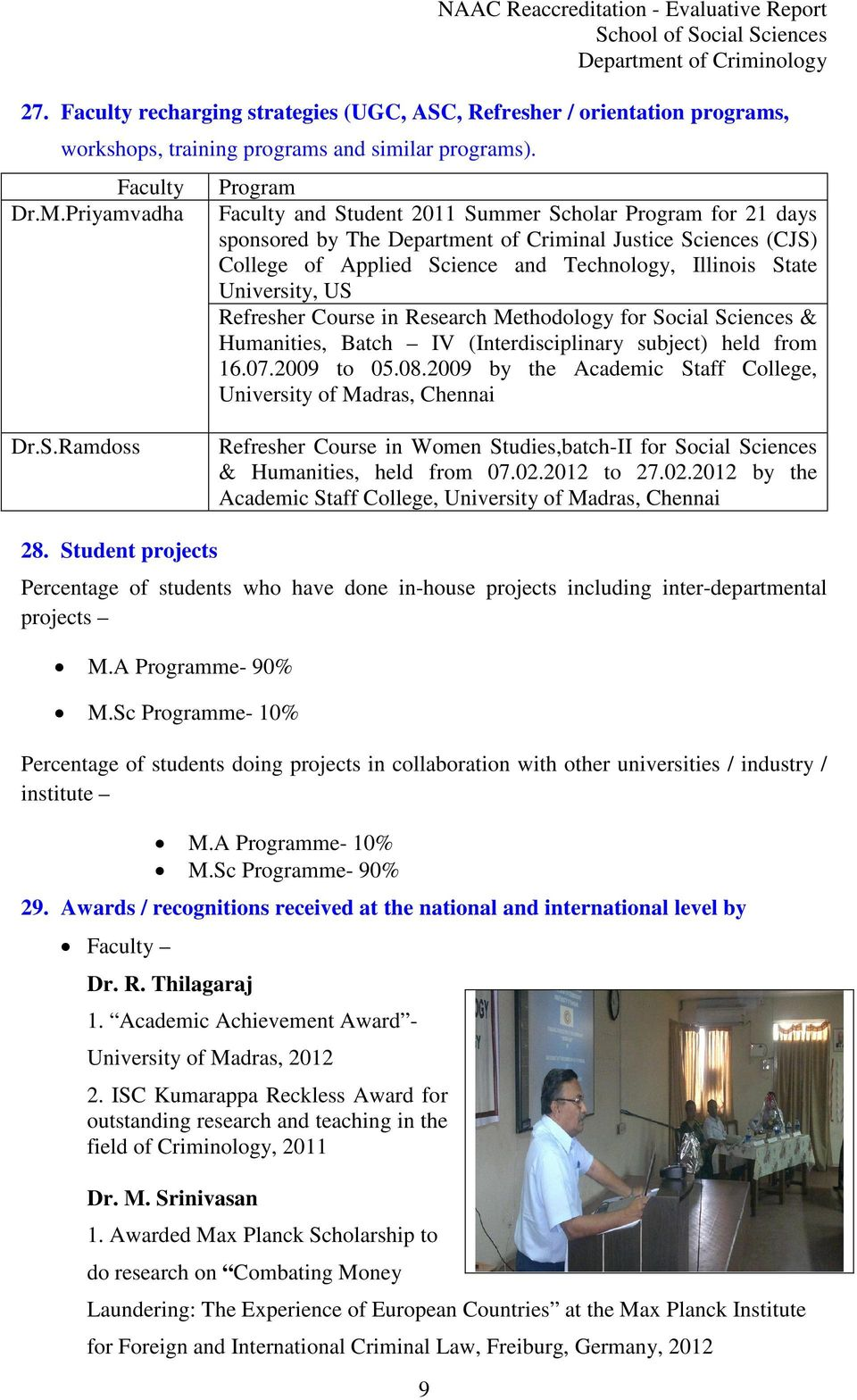 State University, US Refresher Course in Research Methodology for Social Sciences & Humanities, Batch IV (Interdisciplinary subject) held from 16.07.2009 to 05.08.