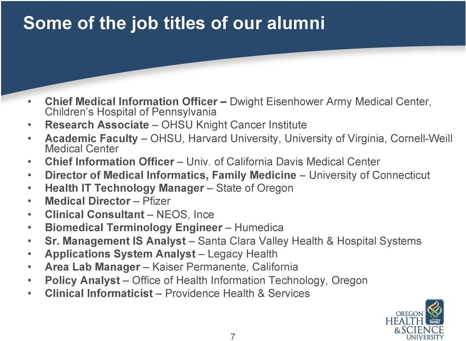 of California Davis Medical Center Director of Medical Informatics, Family Medicine University of Connecticut Health IT Technology Manager State of Oregon Medical Director Pfizer Clinical Consultant