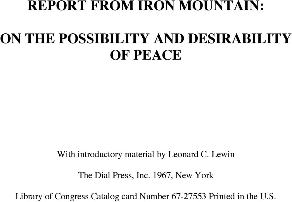 Leonard C. Lewin The Dial Press, Inc.