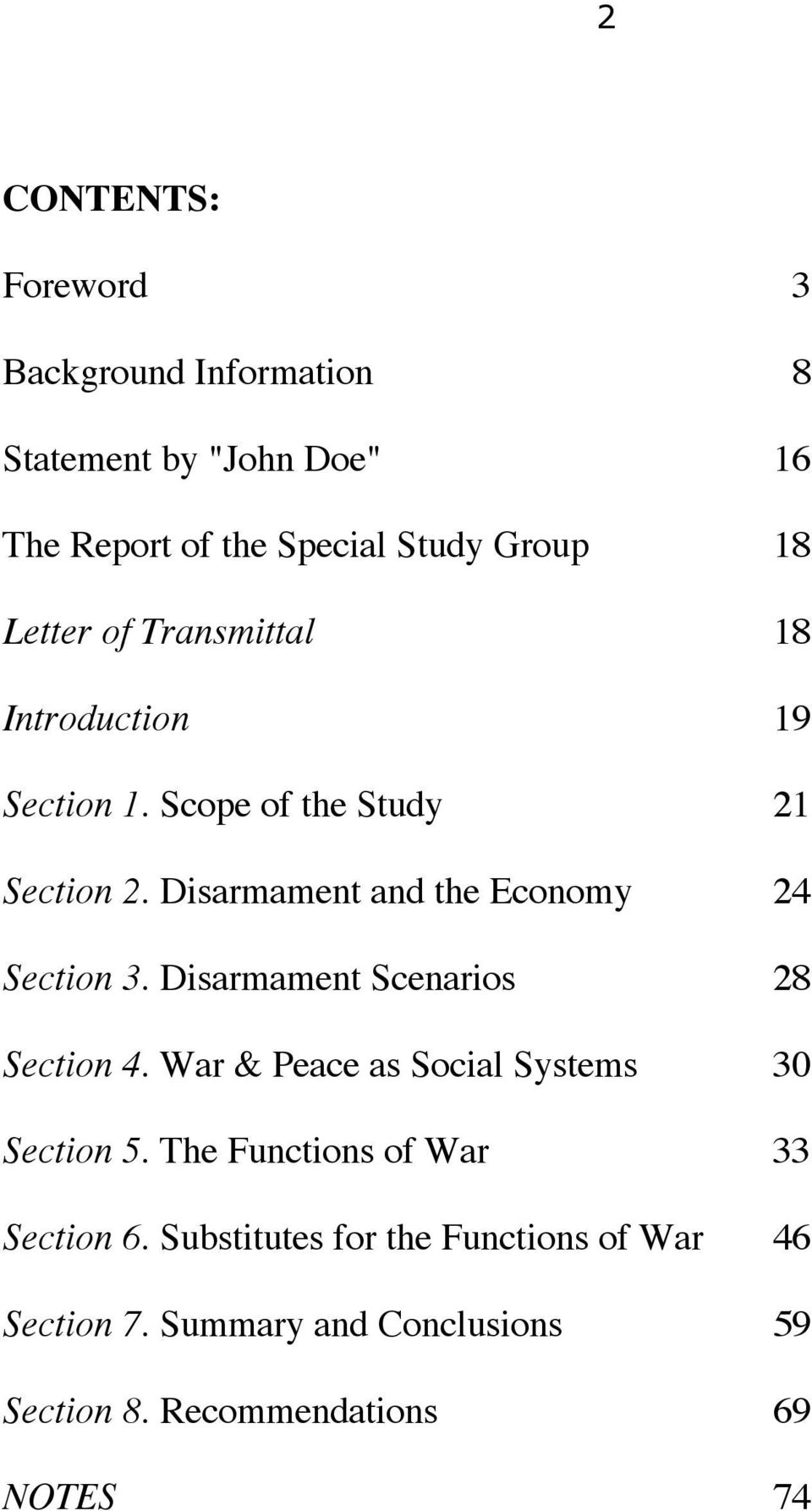 Disarmament and the Economy 24 Section 3. Disarmament Scenarios 28 Section 4.