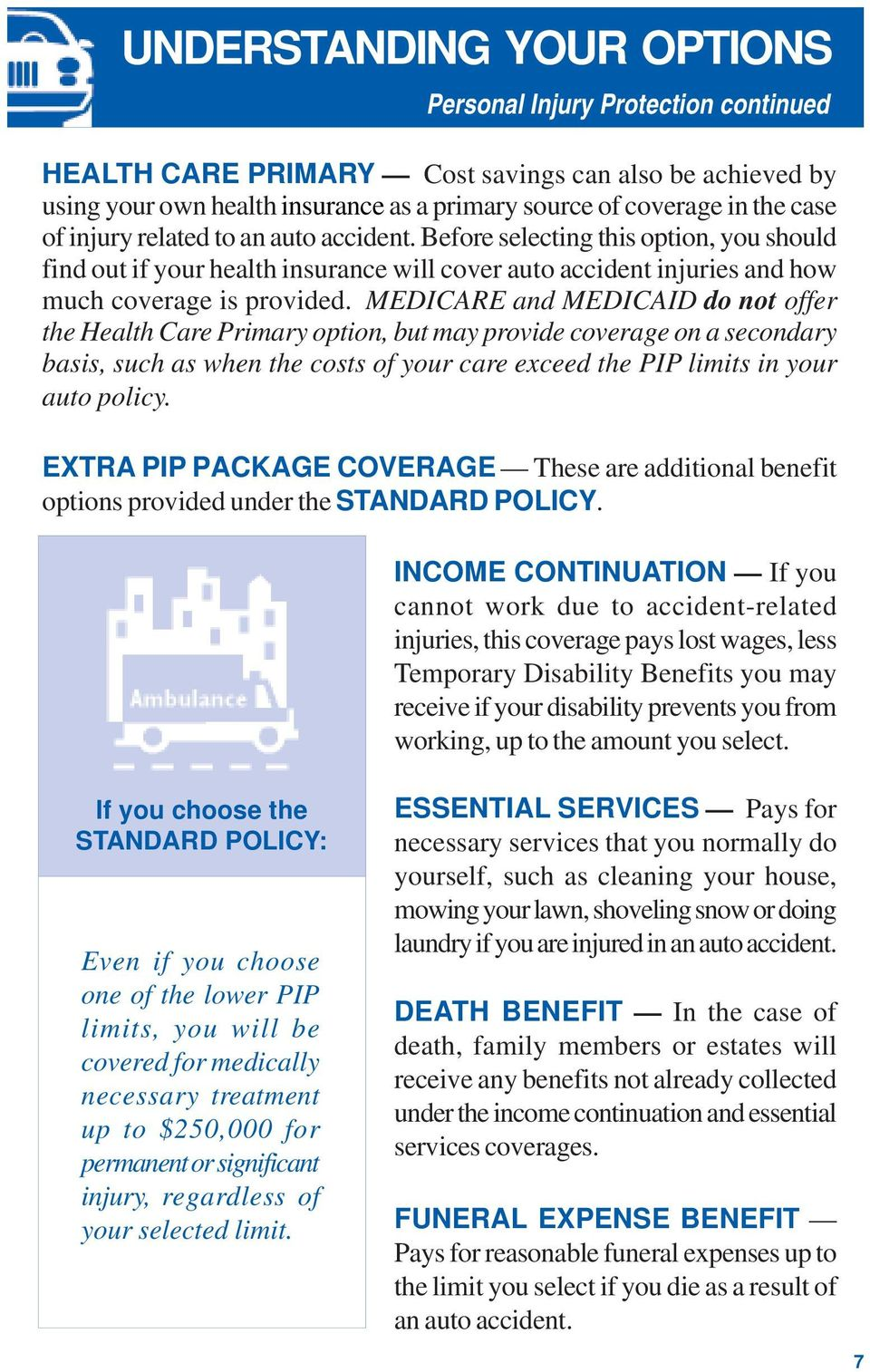 MEDICARE and MEDICAID do not offer the Health Care Primary option, but may provide coverage on a secondary basis, such as when the costs of your care exceed the PIP limits in your auto policy.