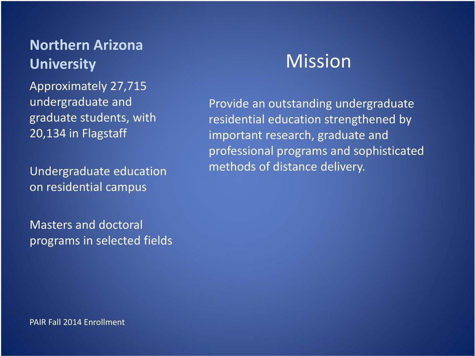 residential education strengthened by important research, graduate and professional programs and