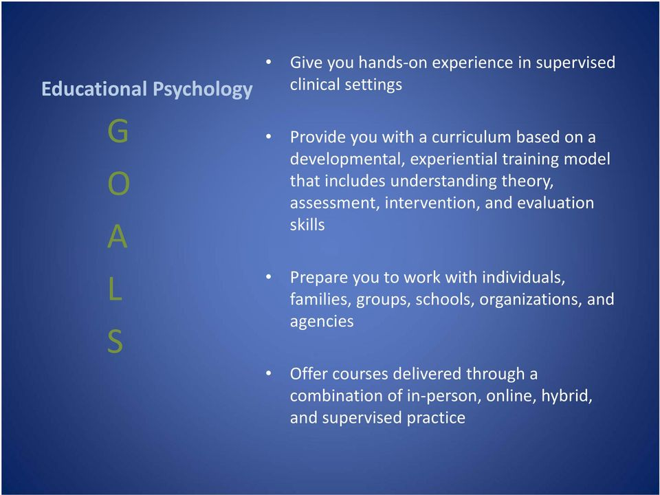 intervention, and evaluation skills Prepare you to work with individuals, families, groups, schools,