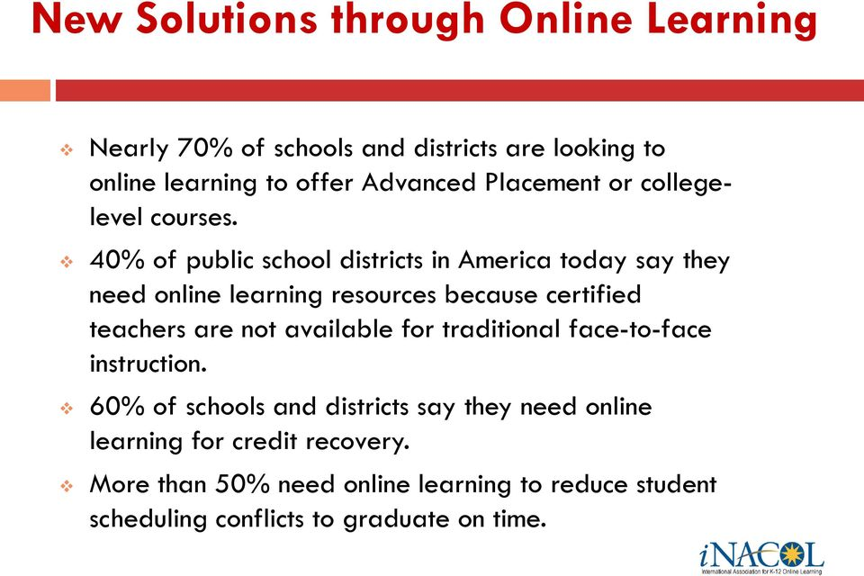 40% of public school districts in America today say they need online learning resources because certified teachers are not