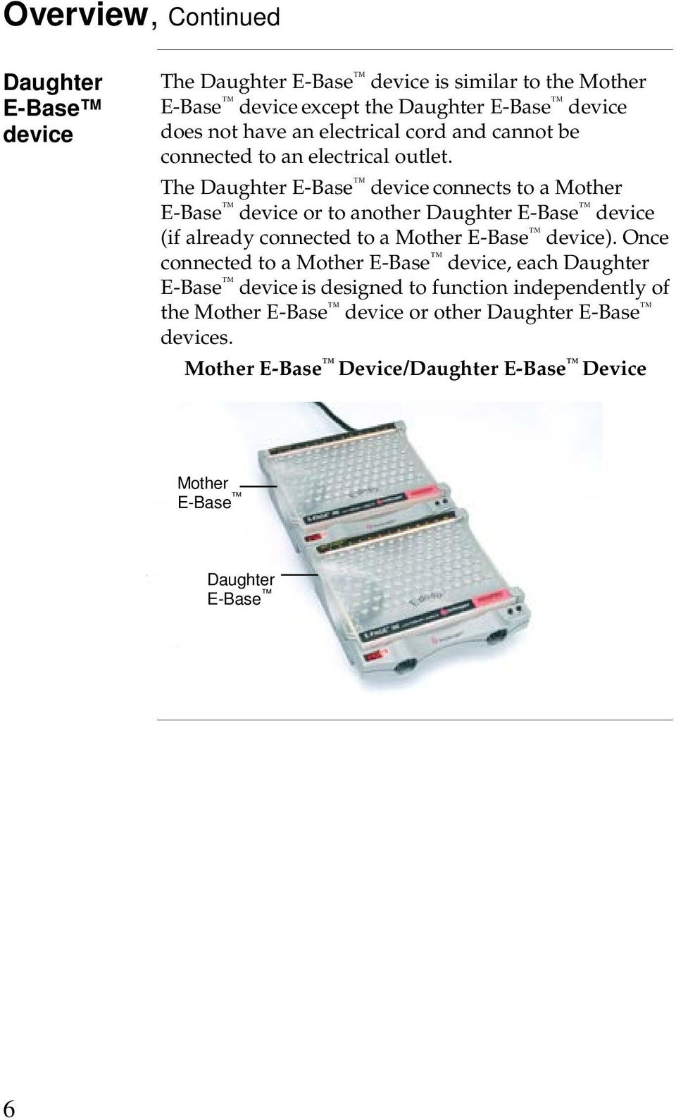 The Daughter E-Base device connects to a Mother E-Base device or to another Daughter E-Base device (if already connected to a Mother E-Base device).