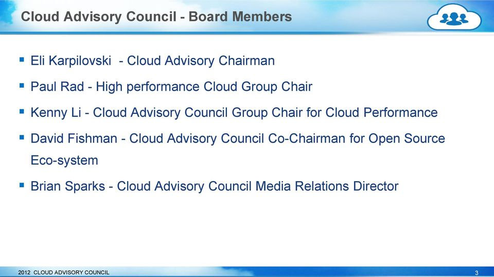 Performance David Fishman - Cloud Advisory Council Co-Chairman for Open Source Eco-system