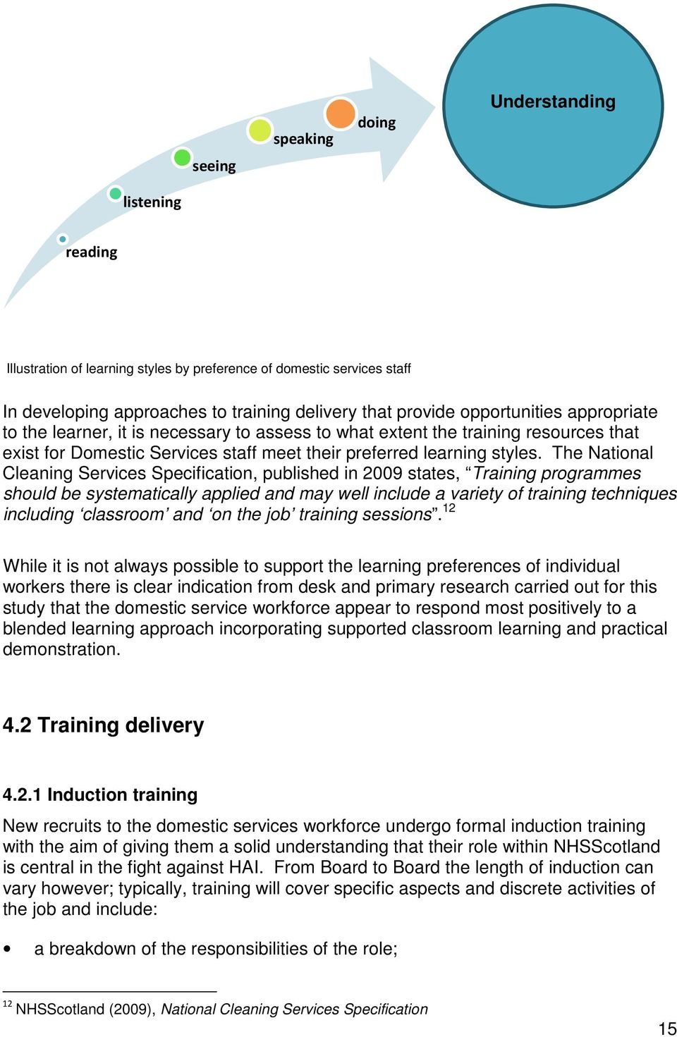 The National Cleaning Services Specification, published in 2009 states, Training programmes should be systematically applied and may well include a variety of training techniques including classroom