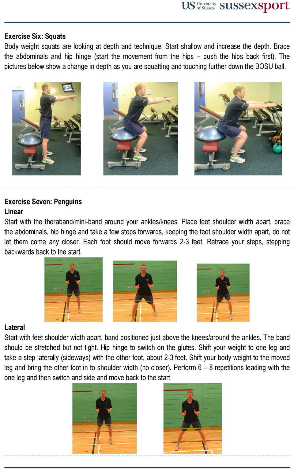 Exercise Seven: Penguins Linear Start with the theraband/mini-band around your ankles/knees.