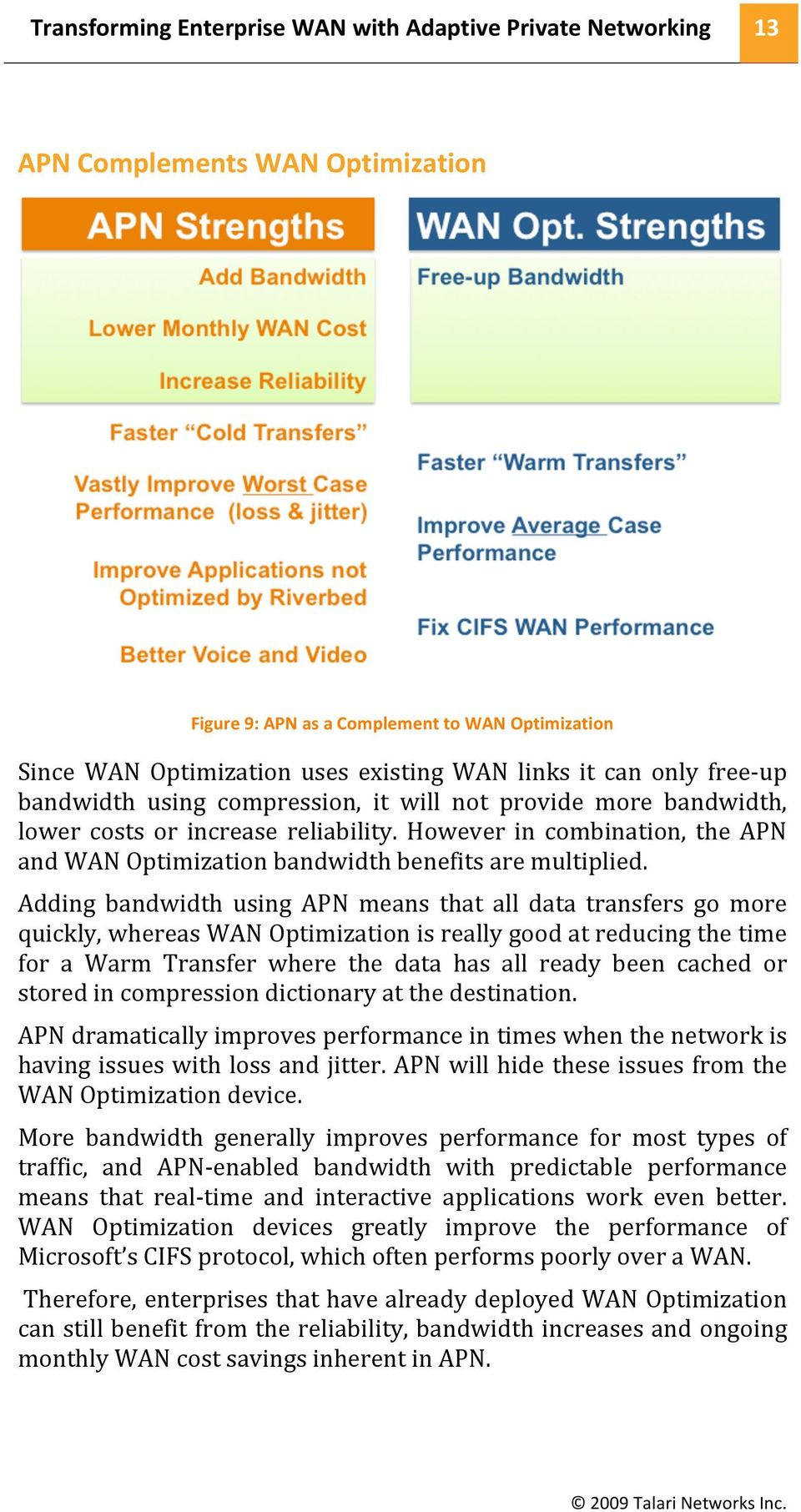 Adding bandwidth using APN means that all data transfers go more quickly,whereaswanoptimizationisreallygoodatreducingthetime for a Warm Transfer where the data has all ready been cached or
