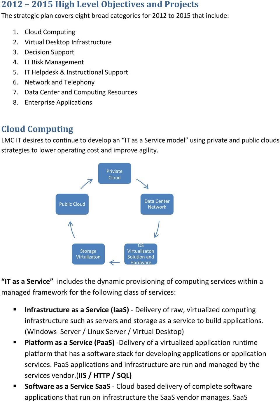 Enterprise Applications Cloud Computing LMC IT desires to continue to develop an IT as a Service model using private and public clouds strategies to lower operating cost and improve agility.