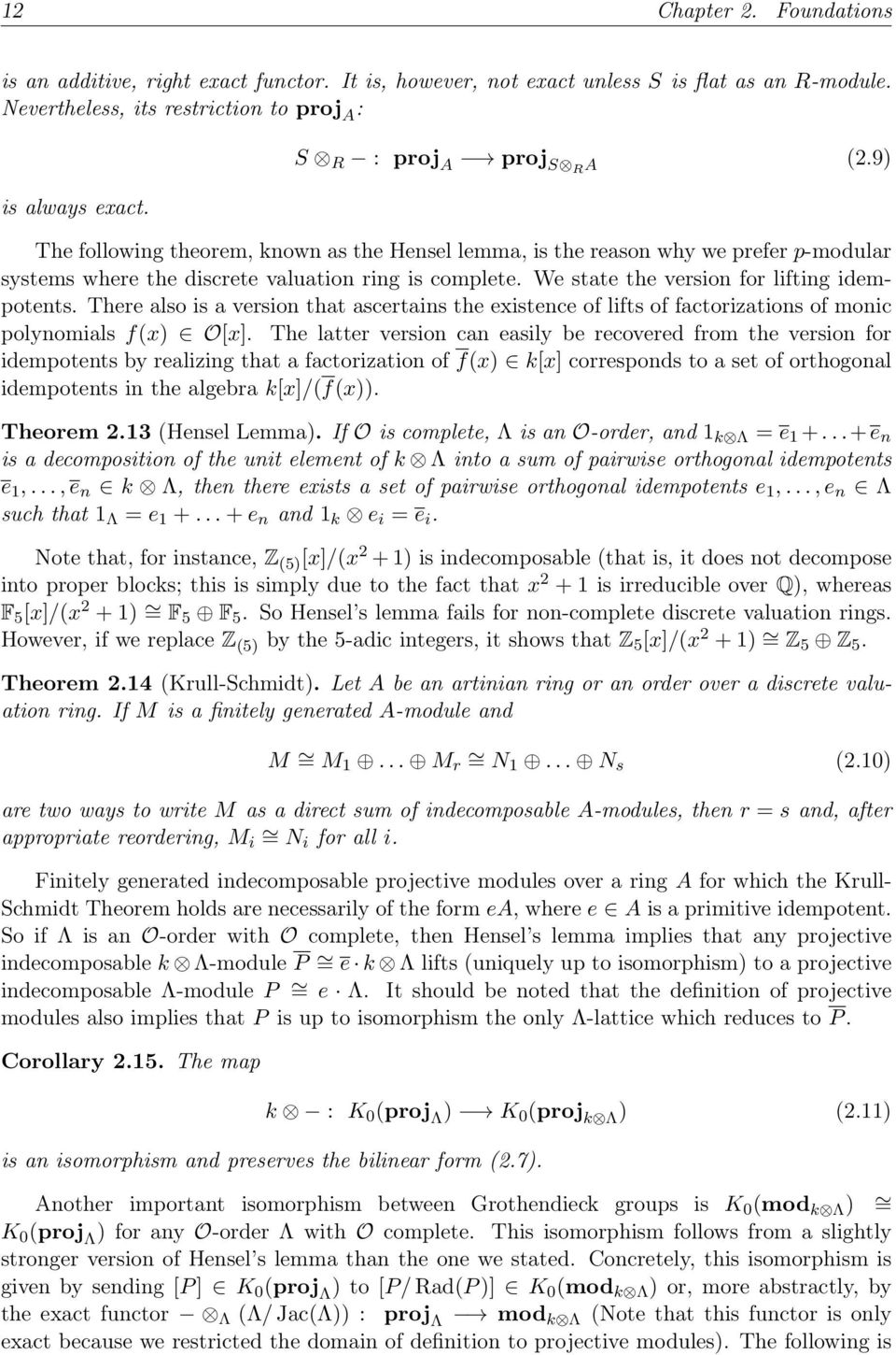 We state the version for lifting idempotents. There also is a version that ascertains the existence of lifts of factorizations of monic polynomials f(x) O[x].