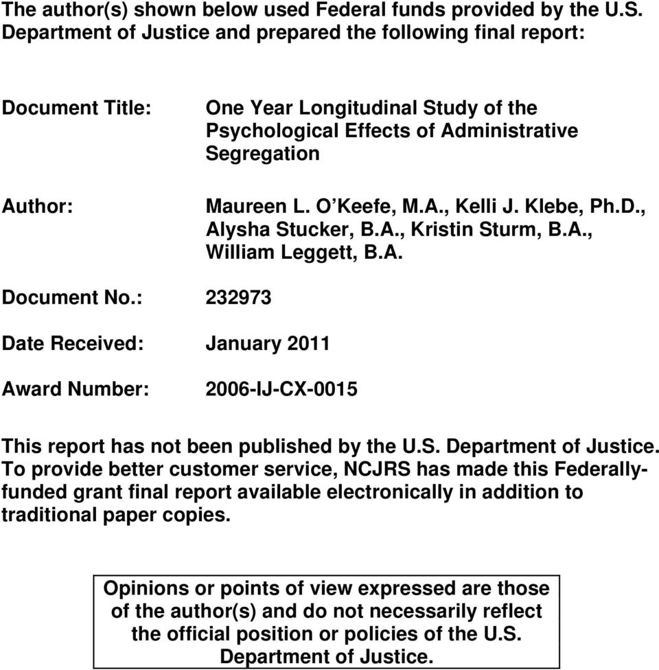 Klebe, Ph.D., Alysha Stucker, B.A., Kristin Sturm, B.A., William Leggett, B.A. Document No.