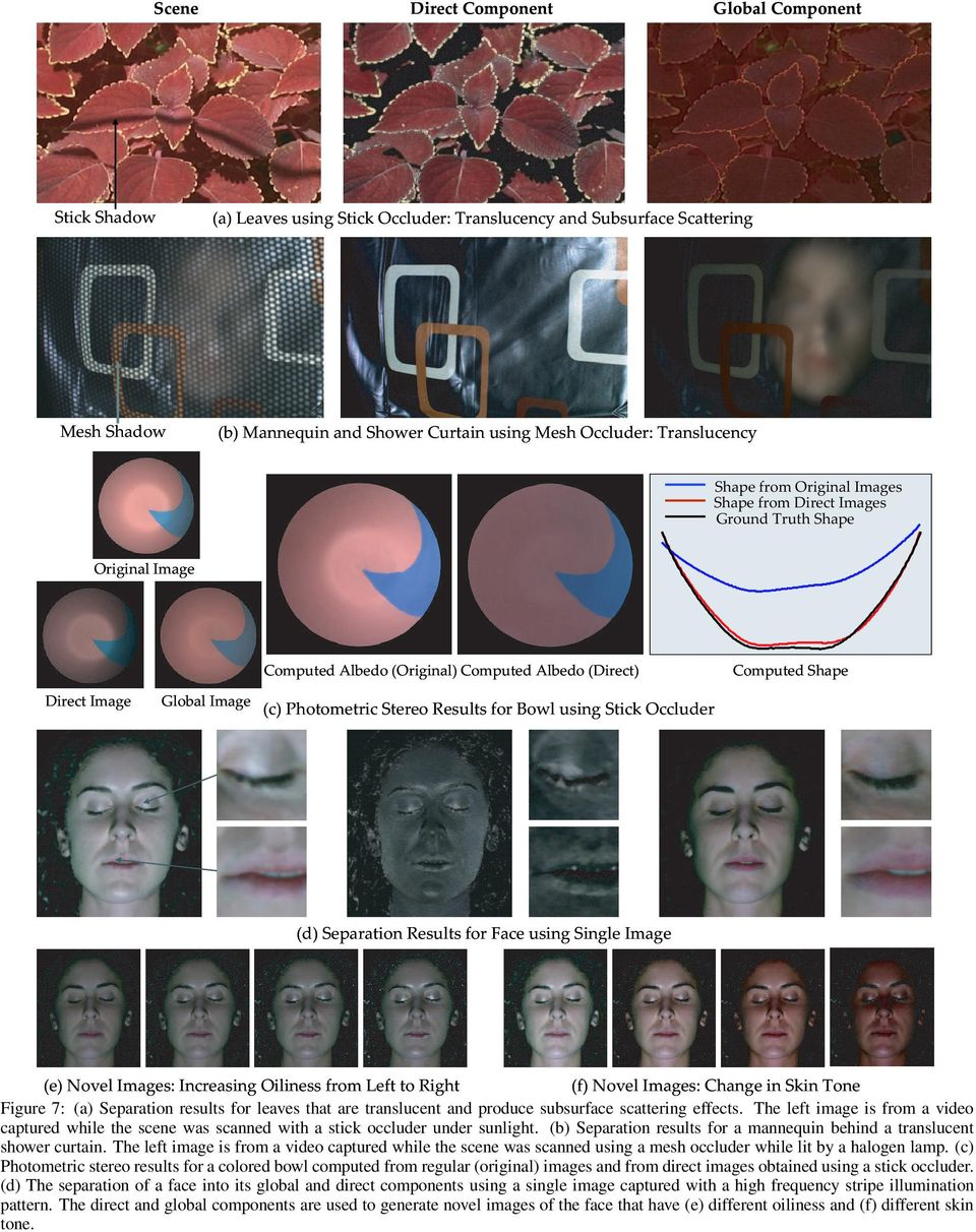 Photometric Stereo Results for Bowl using Stick Occluder (d) Separation Results for Face using Single Image (e) Novel Images: Increasing Oiliness from Left to Right (f) Novel Images: Change in Skin