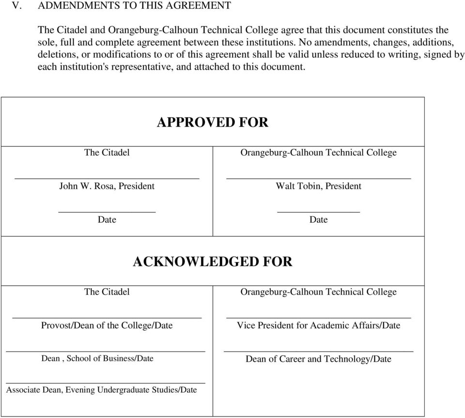 this document. APPROVED FOR The Citadel John W.