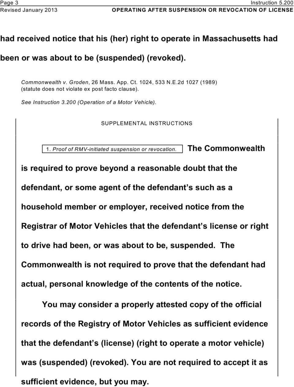 Proof of RMV-initiated suspension or revocation.