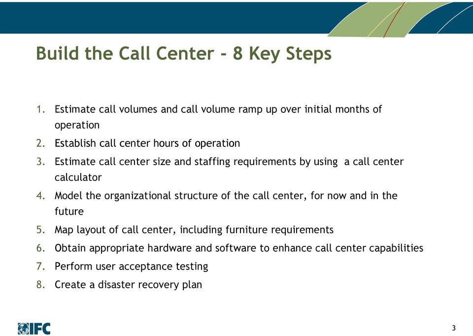 Model the organizational structure of the call center, for now and in the future 5.